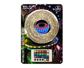 Kit tira LED multicolor RGB (3 m con mando y alimentador)