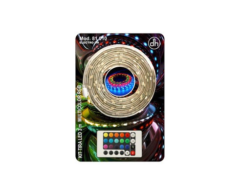 Kit tira LED multicolor RGB (3 m con mando y alimentador)