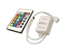 Conjunto controlador y mando a distancia para tiras multicolor RGB